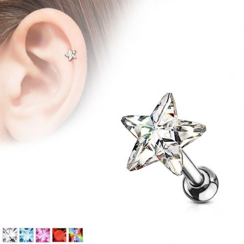 Star Gem Top Cartilage Bar